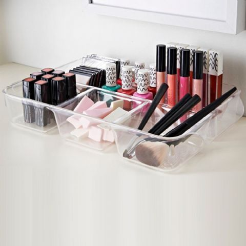 Clear Acrylic Plastic Makeup Vanity Organiser Tray